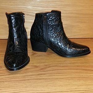 Free People textured black Leather Ankle Boots 6